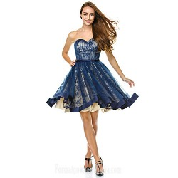 Australia Formal Dresses Cocktail Dress Party Dress Dark Navy A-line Sweetheart Short Knee-length Tulle